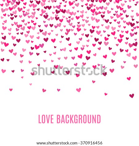 Romantic pink heart background. Vector illustration for holiday design. Many flying hearts on white background. For wedding card, valentine day greetings, lovely frame.