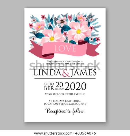 Romantic pink peony bouquet bride wedding invitation template design. Winter Christmas wreath of pink flowers and pine and fir branches. Ribbon
