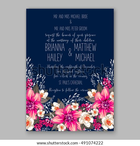 Romantic pink peony bouquet bride wedding invitation template design. Winter Christmas wreath of pink flowers and pine and fir branches