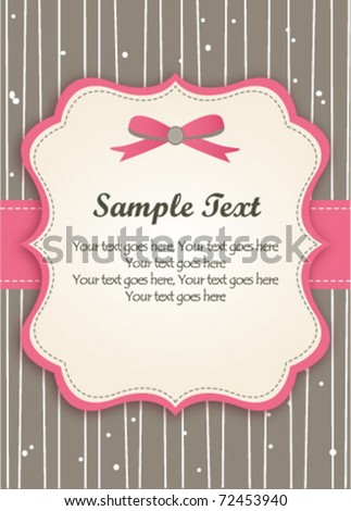 Romantic Pink Retro Card - stock vector