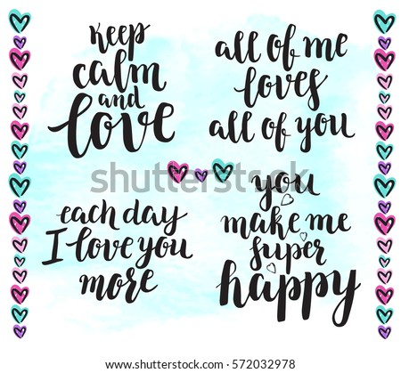 Romantic Quote Set Background Modern Calligraphy Stock Vector ...