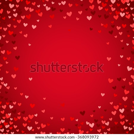 Romantic red heart background. Vector illustration for holiday design. Many flying hearts on red background. For wedding card, valentine's day greetings, lovely frame.