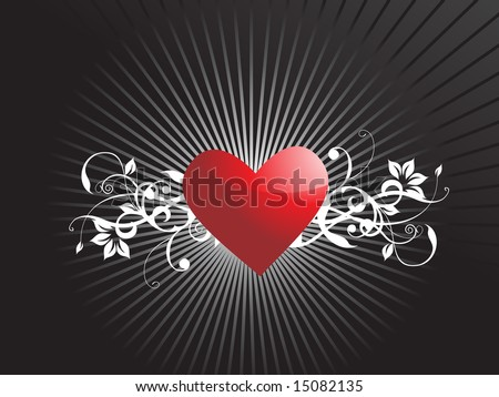 romantic red heart floral background, wallpaper