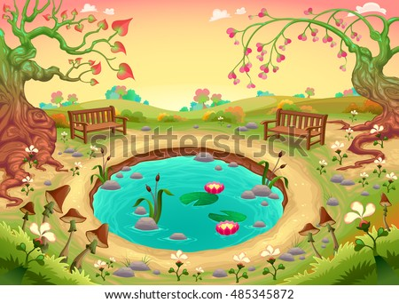 Romantic scene in the park. Vector fantasy illustration