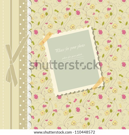 Romantic scrapbooking for invitation, greeting, happy birthday label, postcard frame, baby texture, child album, children pattern, holiday card, color gift, vector eps 10 - stock vector