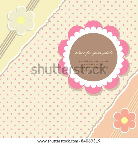 Romantic scrapbooking with your text for invitation, greeting, birthday, label, postcard, frame, gift and etc. (vector version eps 8) - stock vector