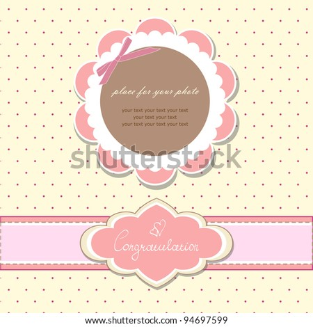 Romantic scrapbooking with your text for invitation, greeting, birthday, label, postcard, frame, gift and etc. (vector version eps 10)