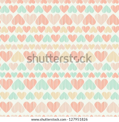 Romantic seamless heart pattern. Endless stylized cute rose texture. Template for design - stock vector