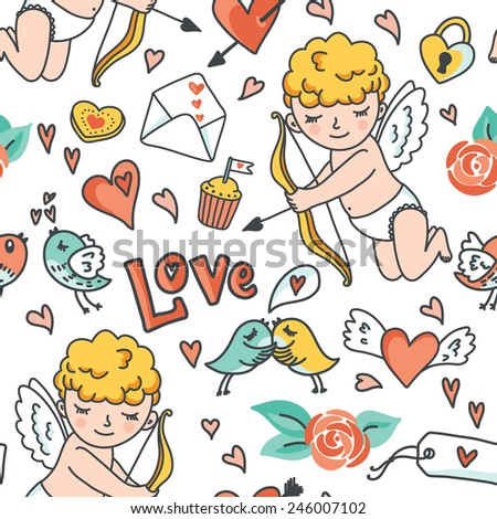 Romantic seamless pattern. Cute Cupid, birds, envelopes, hearts and other design elements. Vector illustration - stock vector