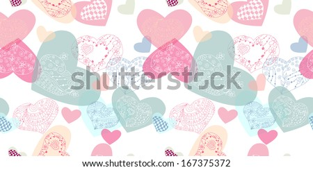 Romantic Seamless pattern.  texture with doodle hearts .  Template for design textile, backgrounds, wrapping paper, package, greeting cards