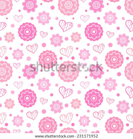 Romantic seamless pattern (tiling). Vector illustration for feminine design. Pink and white colors. Endless texture for printing onto fabric, paper or scrap booking. Heart and abstract flower shapes. - stock vector