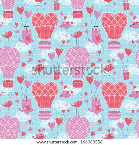 Romantic seamless pattern. Valentine background - stock vector