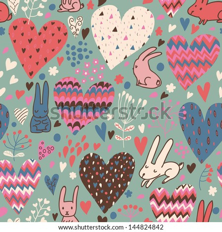 Romantic seamless pattern with cute rabbits in love and big hearts. Vector floral endless background. Happy hares in the garden. Valentines day card design. - stock vector