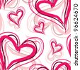 romantic seamless pattern with elegant pink hearts for your design - stock vector