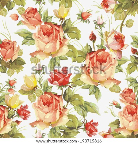 Romantic Seamless pattern with flowers pink roses. Elegance floral vector illustration. - stock vector