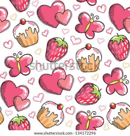 romantic seamless pattern with hand drawn elements - stock vector