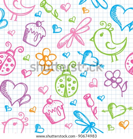 romantic seamless pattern with hand drawn elements