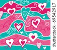 Romantic seamless pattern with hearts - stock photo