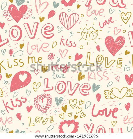 Romantic seamless pattern with hearts, lips. Valentines day decoration texture. Love concept. Wedding invitation - stock vector