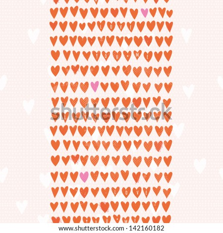 Romantic seamless pattern with small hand drawn hearts. Cartoon background in pink and red color. Vector illustration for your textile, paper, stationery or skin design. - stock vector