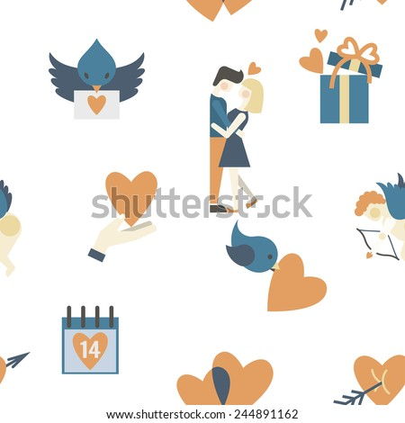 Romantic Seamless with Symbols of Valentine's Day - stock vector