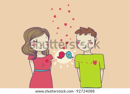 Romantic smiling couple in love. Perfect for a Valentine's card