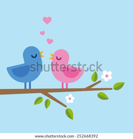 romantic spring scene, two birds singing in minimalistic style with hearts above - stock vector