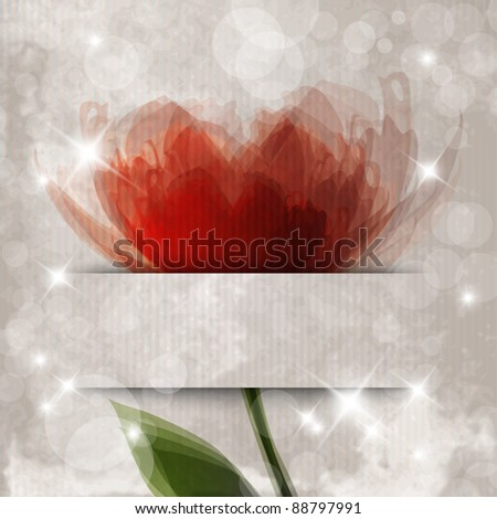 Romantic template design with flower and banner for text - stock vector