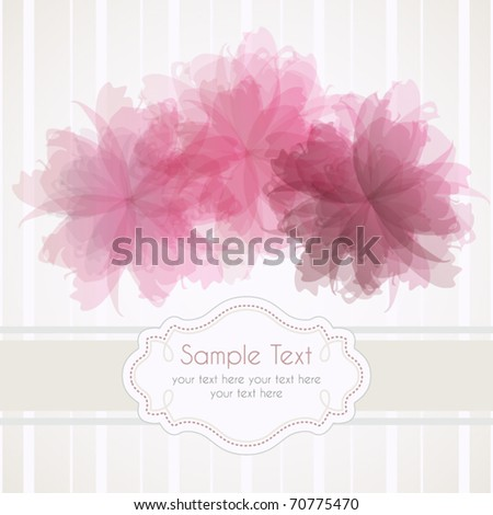Romantic template frame design for greeting card, vector illustration