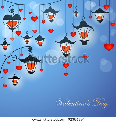 Romantic Valentine card with lanterns and hearts in twilight - stock vector