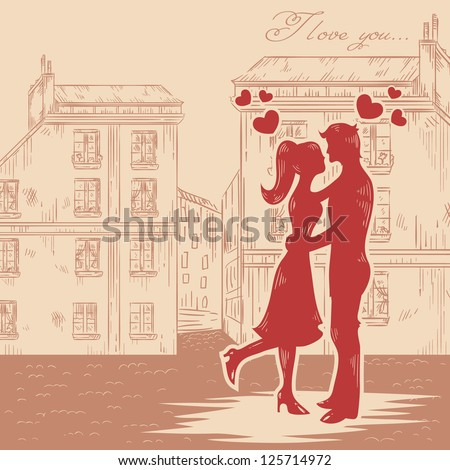 Romantic Valentine retro postcard with happy couple in love with hearts on old fashioned street background - stock vector