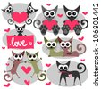 Romantic valentine set with cats - stock vector