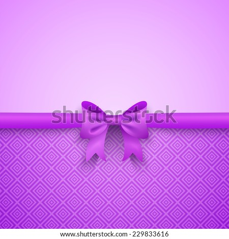 Romantic vector purple background with cute bow and pattern. Pretty design. Greeting card wallpaper for valentine day, birthday or woman day. - stock vector