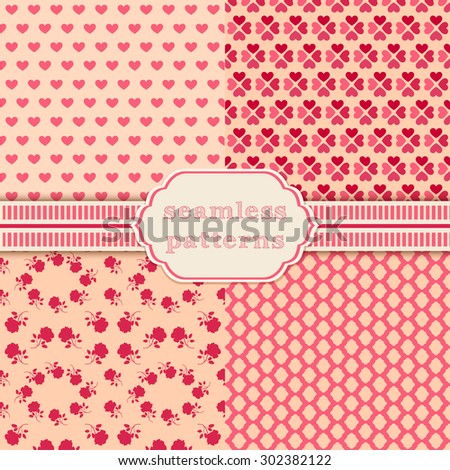 Romantic vector seamless patterns. Cover for Valentines day background design.  - stock vector
