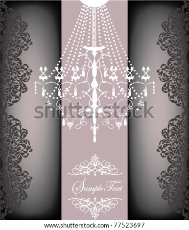 Romantic Vintage Card Design With Chandelier - stock vector
