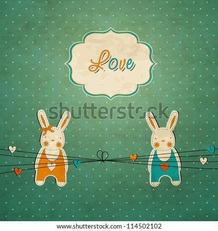 Romantic vintage card with rabbits - stock vector