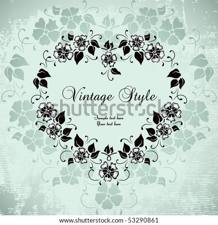 romantic vintage frame - stock vector