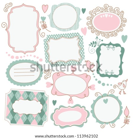 Romantic vintage frames - stock vector