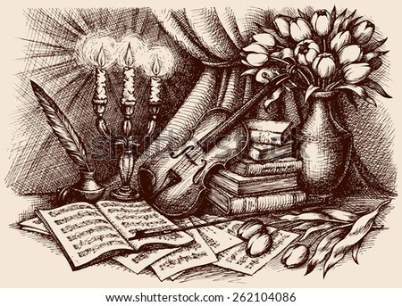 Romantic vintage picture of viola, fiddlestick, inkpot, pen, pages with notes, tulips in bowl and burning golden candelabra. Freehand ink outline drawn background sketch in antiquity engraving style - stock vector
