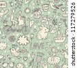Romantic vintage seamless pattern. Cute cartoon illustration in vector. Rabbits, couple of lovers, presents, birds and others - stock vector