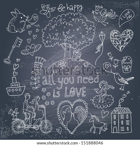 Romantic vintage set in cartoon style on chalkboard background. Couple of lovers under the tree and on tandem bicycle, hearts, chip, rabbit, unicorn, keys, cupcake and other stylish concept elements - stock vector
