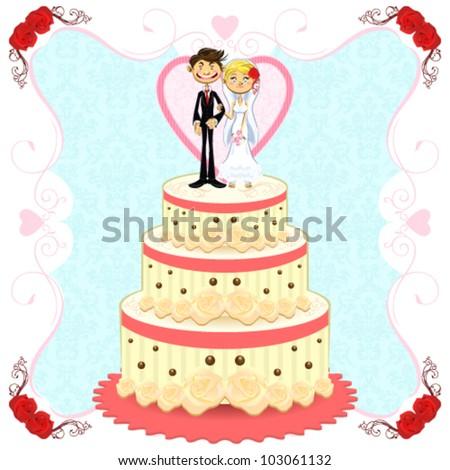 Romantic Wedding Cake - stock vector
