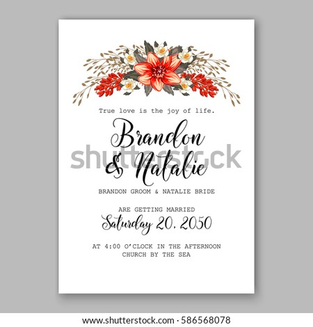 Romantic wedding invitation card template red stock vector romantic wedding invitation card template with red and wight flowers of peony poinsettia daisy and pronofoot35fo Images