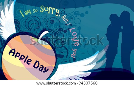 Romantic Young Couple on a day of celebration background with blue pattern - stock vector