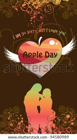 Romantic Young Couple on a day of celebration background with brown pattern - stock vector