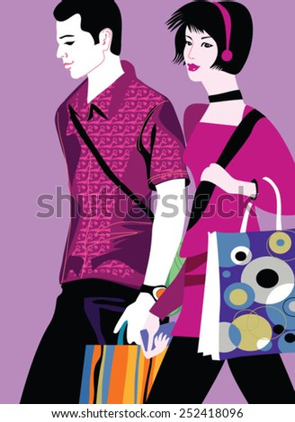 Romantic young couple shopping in the mall with many shopping bags