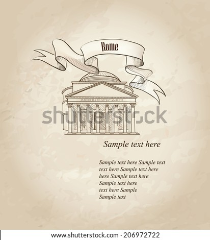 Rome citiy symbols sketch. Panteon illustration. Travel Italy label over old paper background. - stock vector