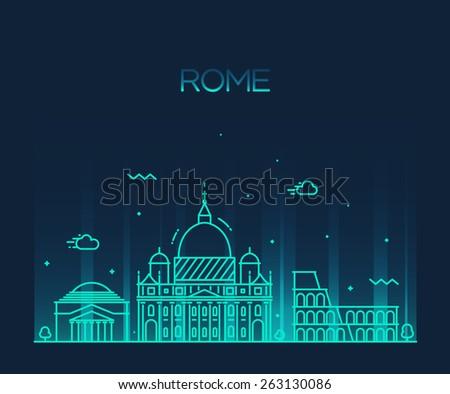 Rome City skyline detailed silhouette. Trendy vector illustration, line art style. - stock vector