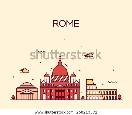 Rome City skyline detailed silhouette. Trendy vector illustration, line art style. - stock vector
