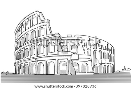 Rome Colosseum Clean Hand Dranw Sketch, Vector Outline Version with various Tones of Grey - stock vector